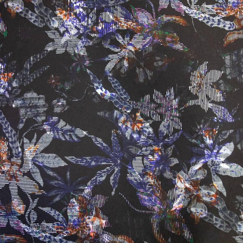 Punto milano noir motif fleurs colorées rainurées