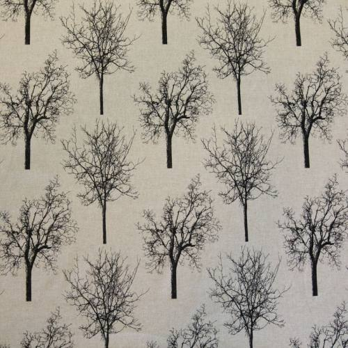 Toile polycoton beige imprimé arbre noir