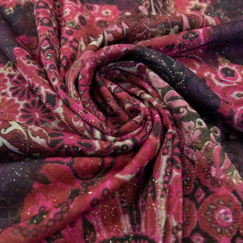 Résille bordeaux motif brillant fleur