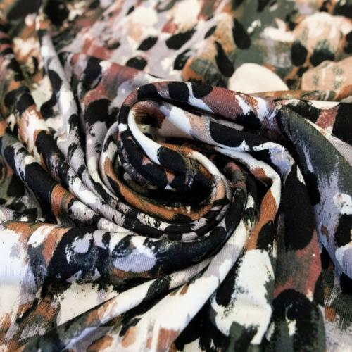 Jersey viscose marron motif noir et taupe