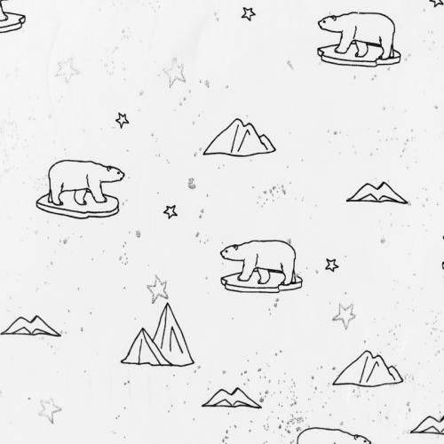 Jersey blanc motif ours polaire et paillettes