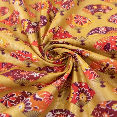 Coton or brillant motif éventail japonais