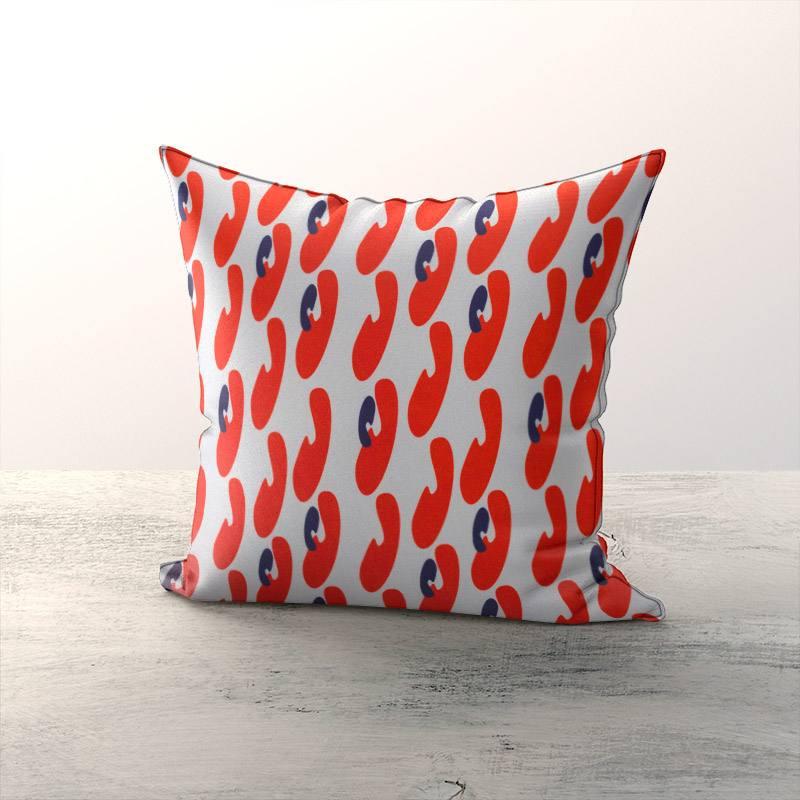 Velours ras écru motif formes abstraites arrondies rouges et bleues