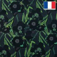 Velours ras bleu marine imprimé fleur noire