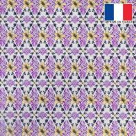 Velours ras grège motif losange floral violet et beige