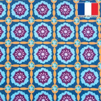 Velours ras bleu motif mosaïque florale géométrique violette et orange