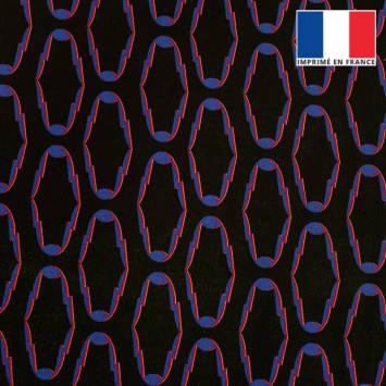 Velours ras noir motif cercles anguleux bleu rouge et blanc