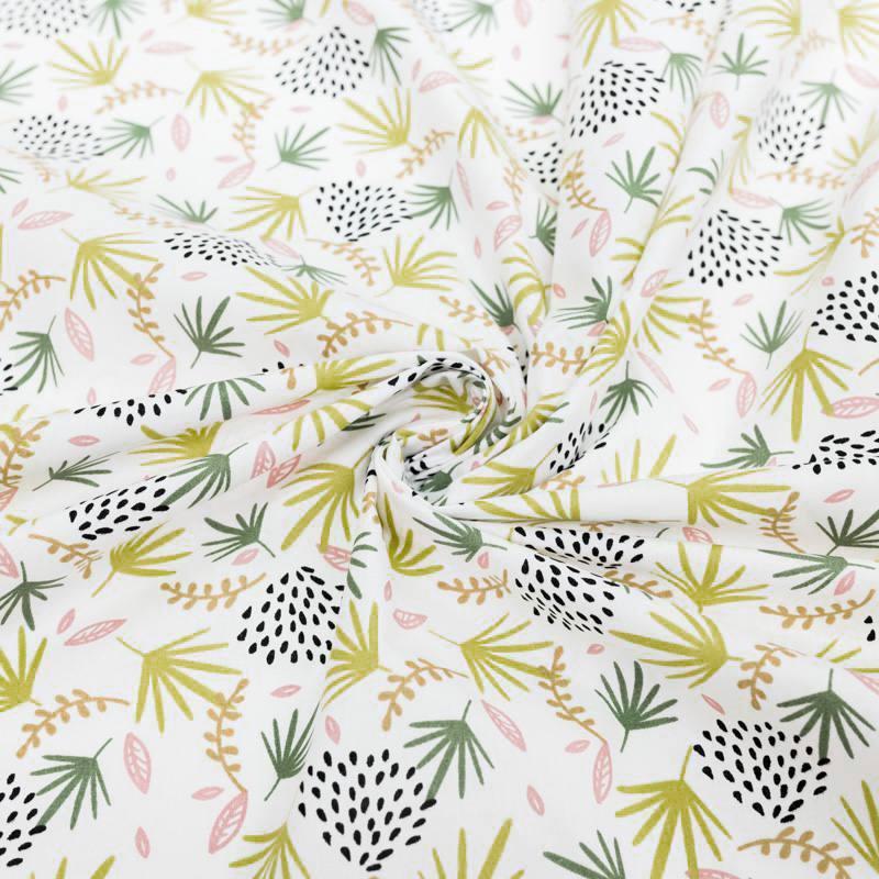 Coton blanc motif feuilles variées vertes, roses et jaunes
