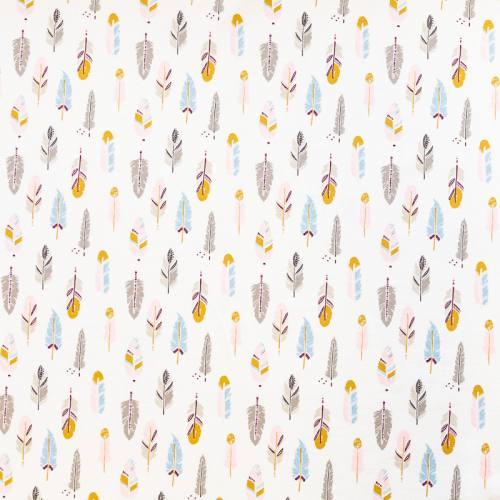 Jersey blanc imprimé plumes roses grises et bleues