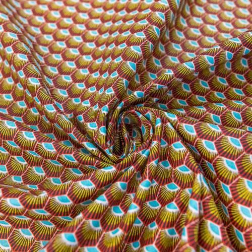 Coton enduit rouge motif wax écaille