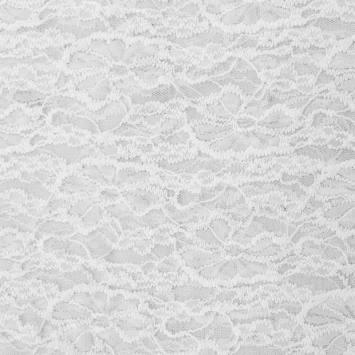 Dentelle extensible relief blanche motif fleur
