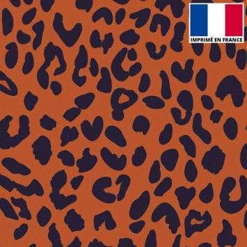 Velours ras imprimé léopard orange