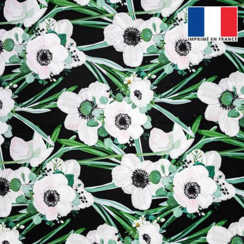 Velours ras noir motif anémone rose pastel et feuille verte