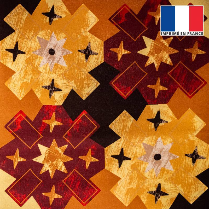 Velours ras motif fleur ethnique jaune orange bordeau