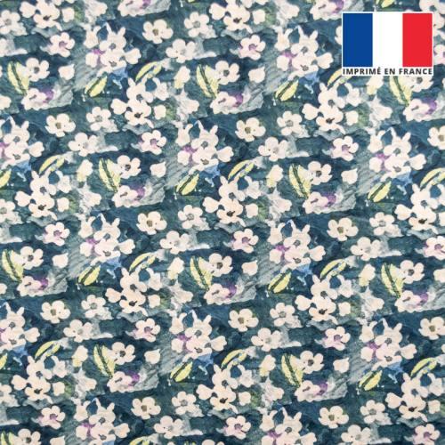 Velours bleu foncé motif fleur abstraite aquarelle écru et vert