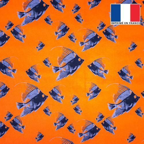 Velours orange imprimé poisson bleu