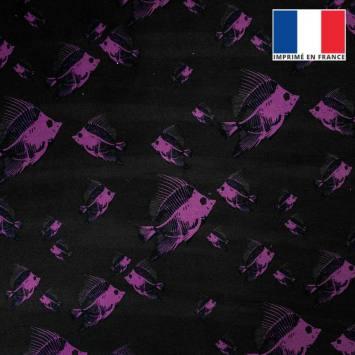 Velours ras noir imprimé poisson violet