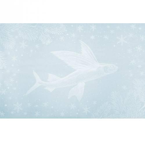 Lot de 2 coupons velours ras bleu givré motif baleine et poisson volant + fermeture offerte
