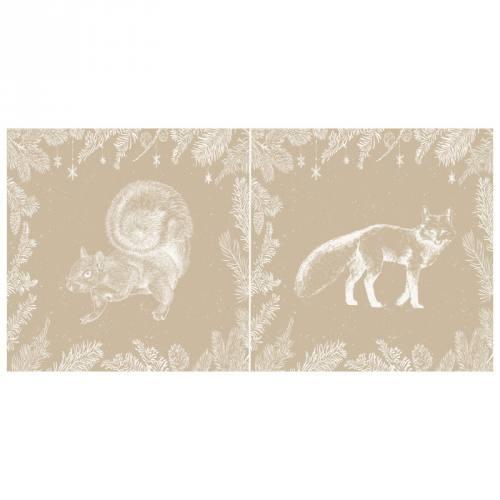 Lot 2 coupons velours ras beige motif écureuil et renard + fermeture offerte