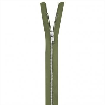 Fermeture vert kaki en métal argent 65 cm col 999