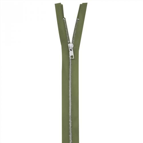 Fermeture vert militaire en métal argent 70 cm col 999