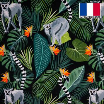 Velours ras noir imprimé jungle et lémurien