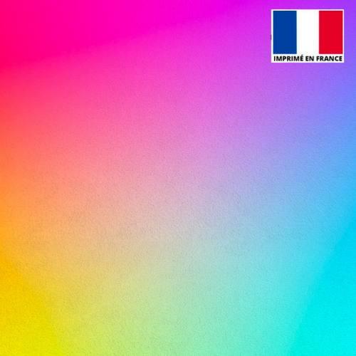 Coupon de velours ras imprimé dégradé de couleur 45x45cm