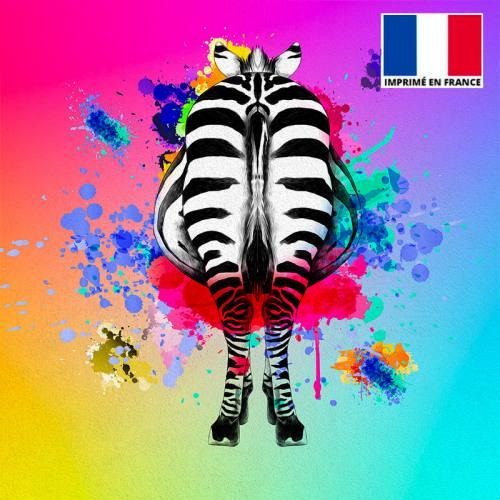 Coupon de velours ras multicolore imprimé dos de zèbre 45x45cm