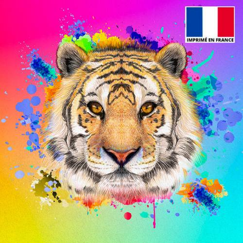 Coupon de velours ras multicolore imprimé tigre 45x45cm