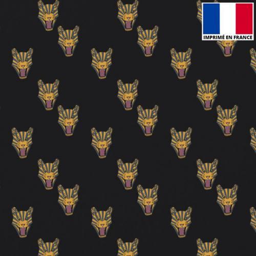 Satin noir imprimé tigre