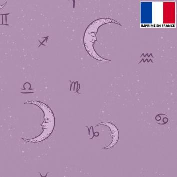 Satin mauve imprimé lune et signes astro
