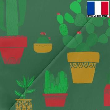 Satin vert sapin imprimé cactus