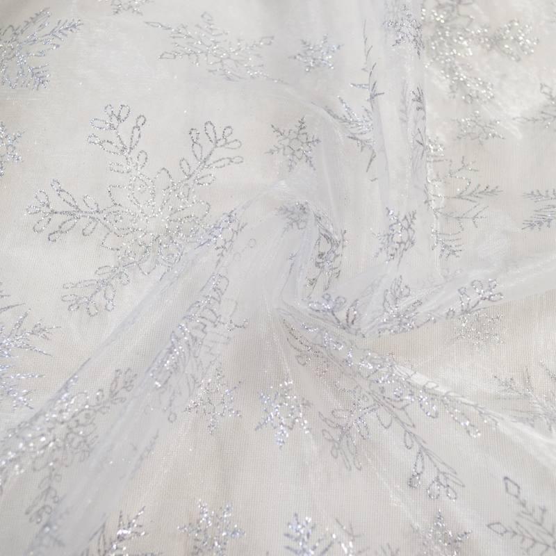 Organza blanc flocons argentés