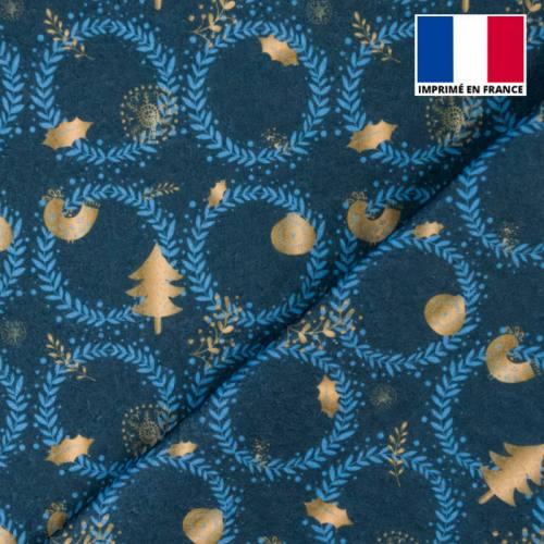 Feutrine bleue motif couronne de Noël bleu clair