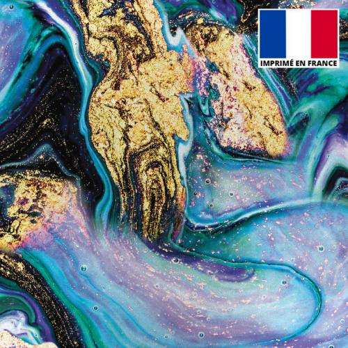Lycra imprimé magma noir et bleu et poudre d'or