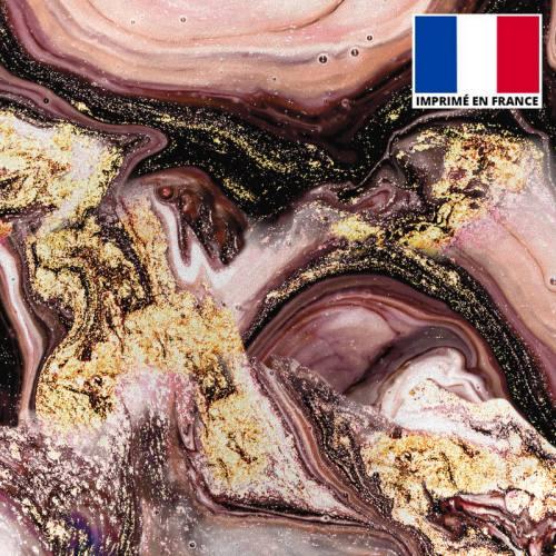 Lycra imprimé magma rose chair et poudre d'or