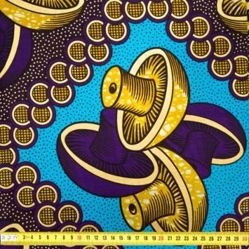 Wax - Tissu africain violet et bleu motif or paillette 439