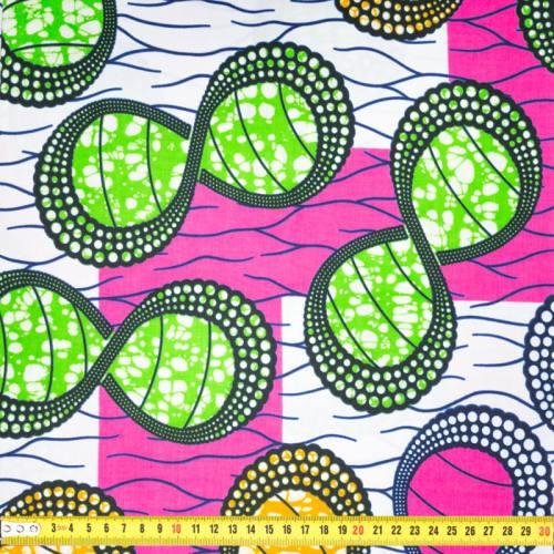 Wax - Tissu africain blanc motif rond orange, vert et rose 436