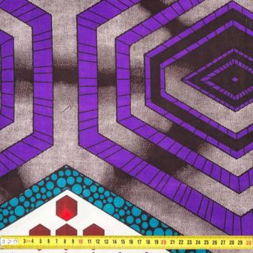 Wax - Tissu africain motif violet, rouge et bleu 435