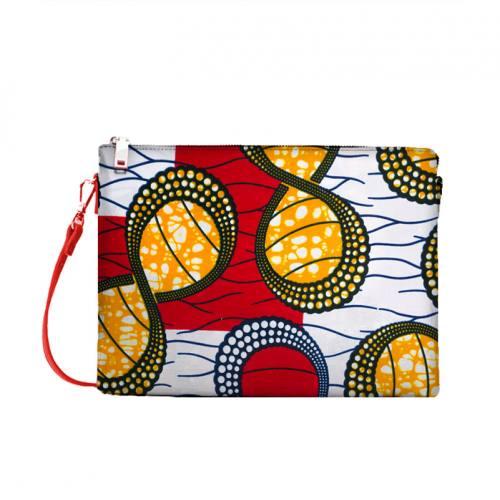Wax - Tissu africain blanc, rouge motif rond vert et orange 430