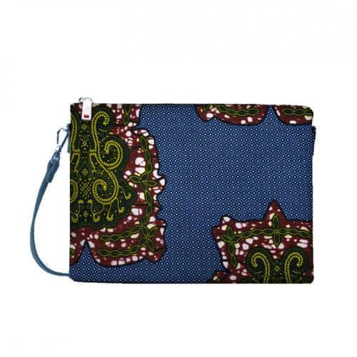 Wax - Tissu africain bleu marine motif arabesque bordeaux 427