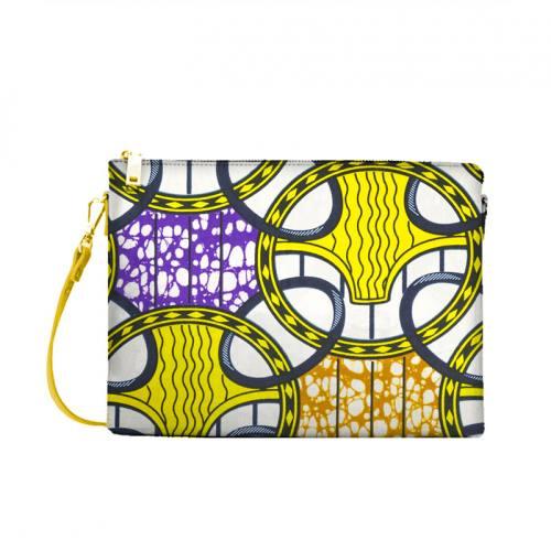 Wax - Tissu africain motif rond entrelacé jaune, marron et violet 425