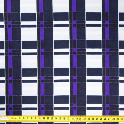 Wax - Tissu africain motif carreau blanc, noir et violet 422