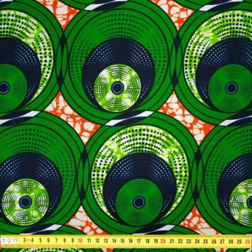Wax - Tissu africain motif vert et orange 414