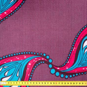 Wax - Tissu africain prune motif cachemire bleu et rose 411