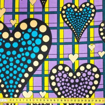 Wax - Tissu africain violet motif coeur et rond or paillette 403