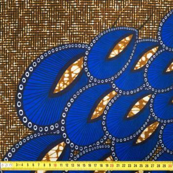 Wax - Tissu africain marron motif paon bleu roi 402