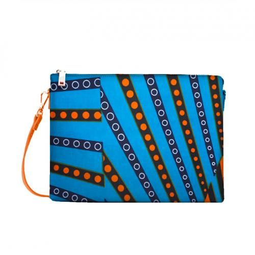 Wax - Tissu africain rayure orange et bleue 401
