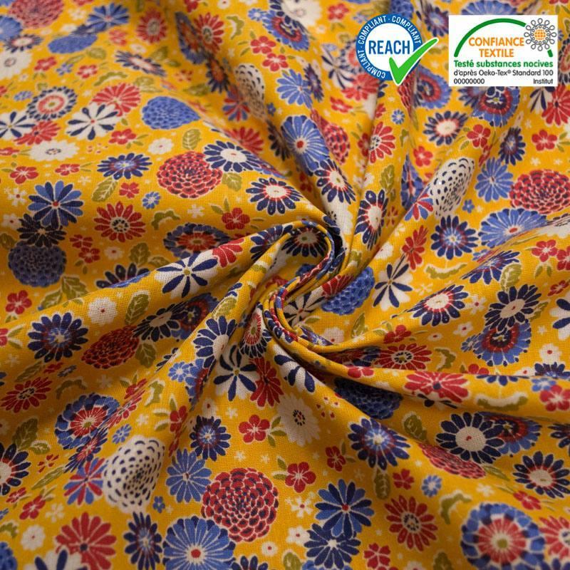 Coton jaune motif misaki