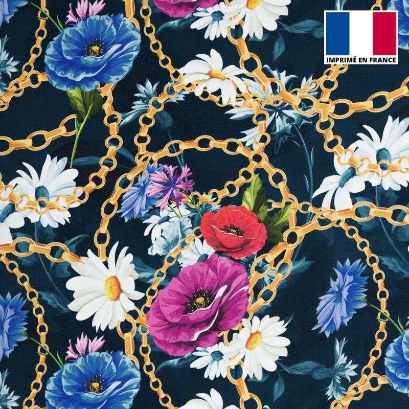 Satin bleu marine imprimé fleurs et chaines